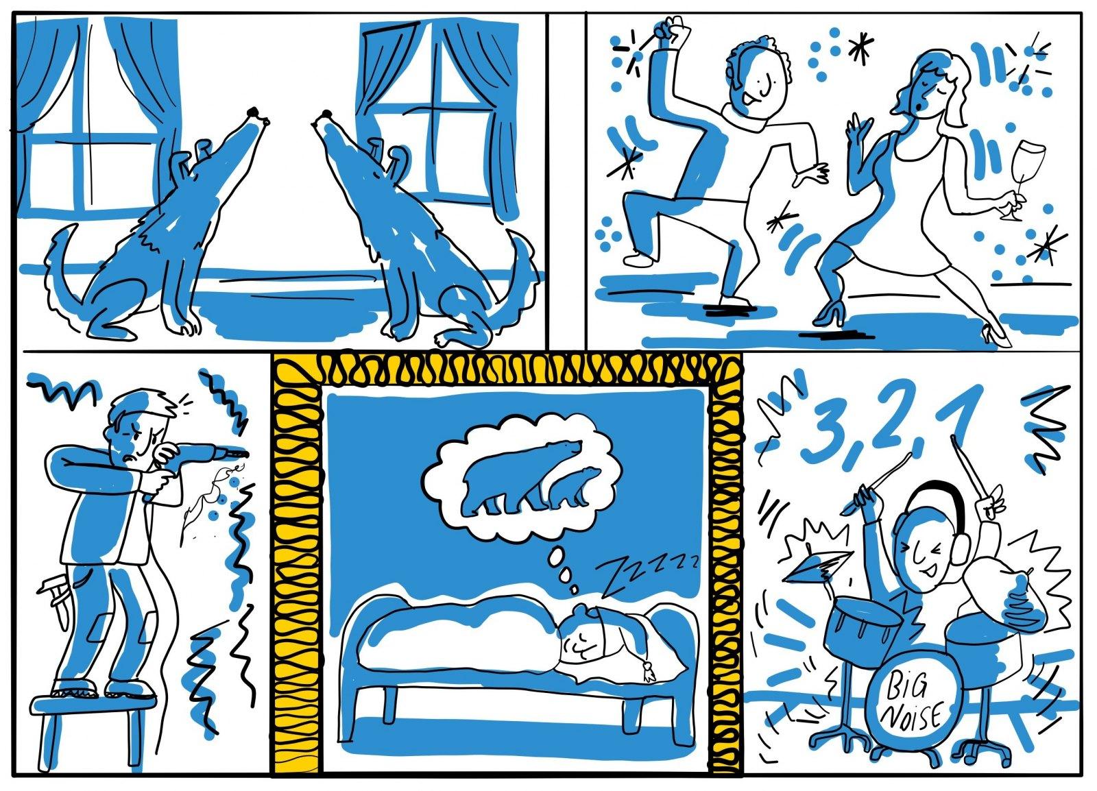 ursa akusticka izolace hluk dum kresleny vtip
