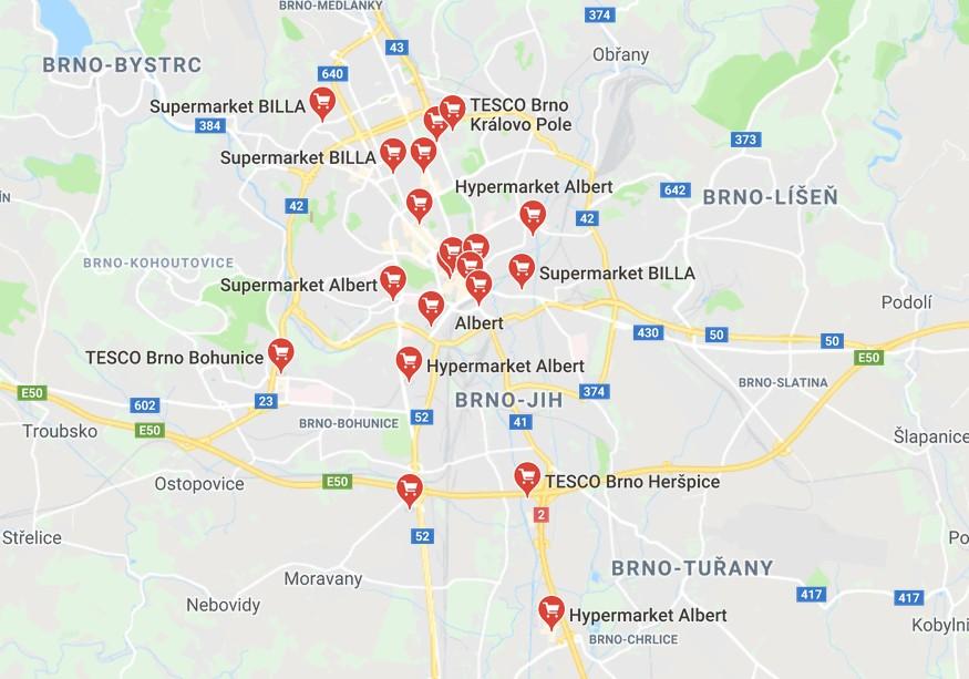 hypermarkety v Brně